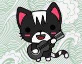 Dibujo Gato guitarrista pintado por Onigiri