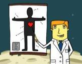 Dibujo Médico explicando pintado por polillaty