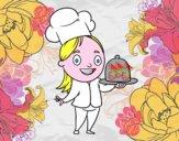 Cocinera con bandeja
