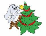 Dibujo Conejo decorando el árbol de navidad pintado por mariferna