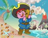 Niño pirata y su mono mascota
