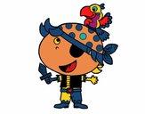 Pirata niño con loro