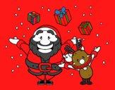 Santa y reno con regalos