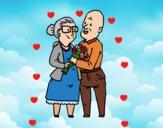 Dibujo Abuelos enamorados pintado por mariacorte