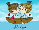 Beso en un bote