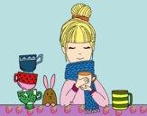 Dibujo Chica con bufanda y taza de té pintado por mariacorte