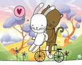 Gatito y Conejito enamorados