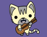 Dibujo Gato guitarrista pintado por lunatik