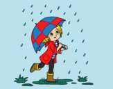 Dibujo Niña con paraguas bajo la lluvia pintado por mariacorte