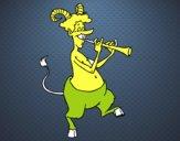 Fauno tocando la flauta
