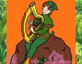 Dibujo Duende tocando el arpa pintado por madison