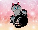 Mamá gata y gatitos