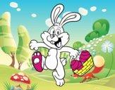 Conejo buscando huevos de Pascua
