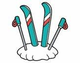 Dibujo Esquís y palos pintado por saraytape