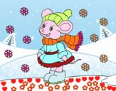 Ratita abrigada en Navidad