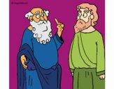 Dibujo Sócrates y Platón pintado por panduaum