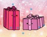 Dibujo Dos regalos pintado por luna2345