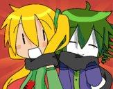 Dibujo Miku y Len con bufanda pintado por annie9000