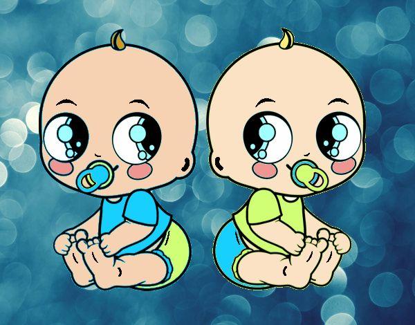 Dibujo Bebés gemelos pintado por Chuspitina