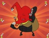 Escarabajo rinoceronte enfadado