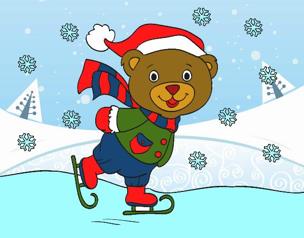 Dibujo Osito patinando navideño pintado por Clouster