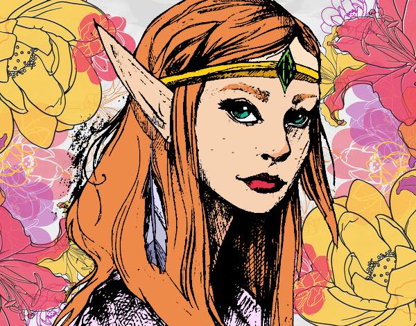 Dibujo Princesa elfo pintado por AmaiMei