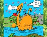 Apatosaurios en el agua