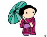 Dibujo Geisha con sombrilla pintado por BarbiT