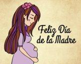 Dibujo Mamá embarazada en el día de la madre pintado por BarbiT