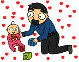 Dibujo Padre jugando con bebé pintado por GiulianMC