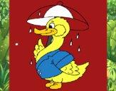 Dibujo Pato bajo la lluvia pintado por sierva
