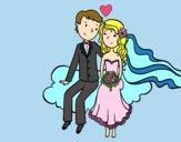 Recién casados en una nube