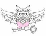 Tatuaje de búho con llave