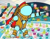 Astronauta con cohete
