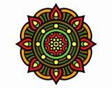 Dibujo Mandala puntos de fuego pintado por belladona