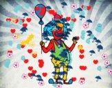 Dibujo Payaso y globo pintado por abicabrera
