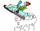 Salto con moto de nieve