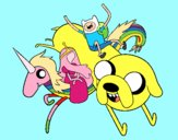 Dibujo Finn y Jake con la Princesa Chicle pintado por gav007a