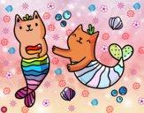 Dibujo Gatos sirena pintado por cuyito