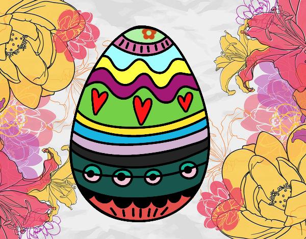 Dibujo Huevo de Pascua para decorar pintado por carrusel