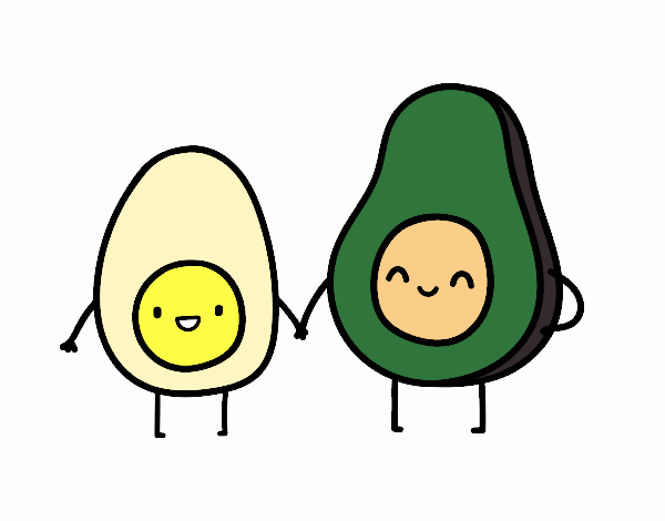 Dibujo Huevo y aguacate pintado por Osiita
