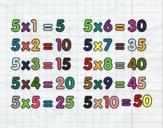 Dibujo La Tabla de multiplicar del 5 pintado por Mariana1jh