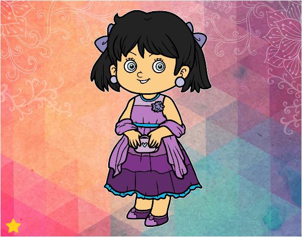 Dibujo Niña con vestido elegante pintado por Osiita