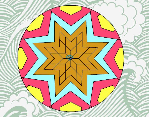 Dibujo Mandala mosaico estrella pintado por carrusel