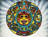 Dibujo Calendario azteca pintado por PACOLEYVA
