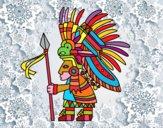 Dibujo Guerrero azteca pintado por PACOLEYVA