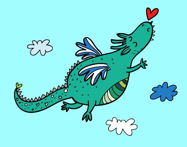 Dibujo Dragón con corazón pintado por Ytap