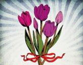 Tulipanes con lazo