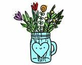 Dibujo Bote con flores silvestres y un corazón pintado por Zurami