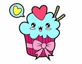 Dibujo Cupcake kawaii con lazo pintado por Zurami